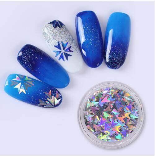 Holographic Nail Sequins Laser V Shape - KTG Crystals - Quality ...